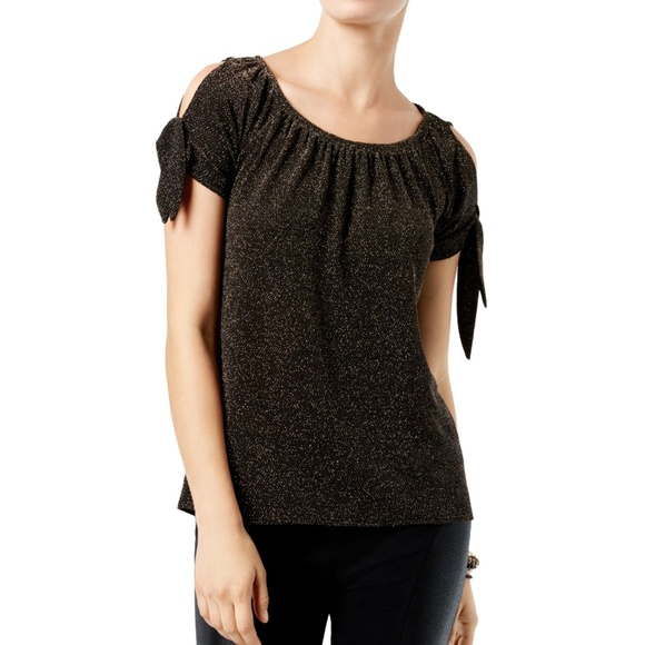 INC International Concepts Womens Cold-Shoulder Tie-Dyed Peasant Top